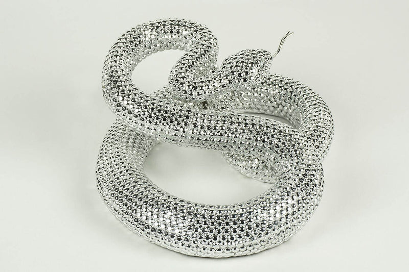 Resin and Metal Coiled Rattle Snake - HM_FURNITURE