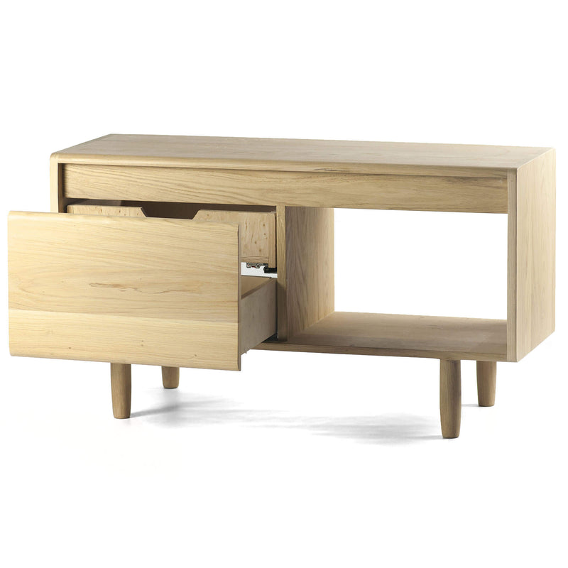 Oak Wood 2 Drawers 1 Shelf Sideboard