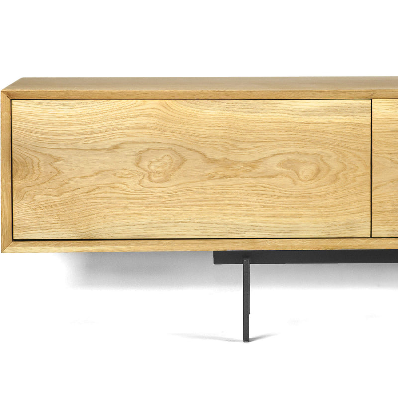 Oak Wood Media Unit With Metal Legs