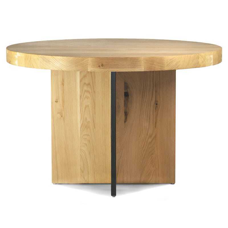 Oak Wood Round Dining Table