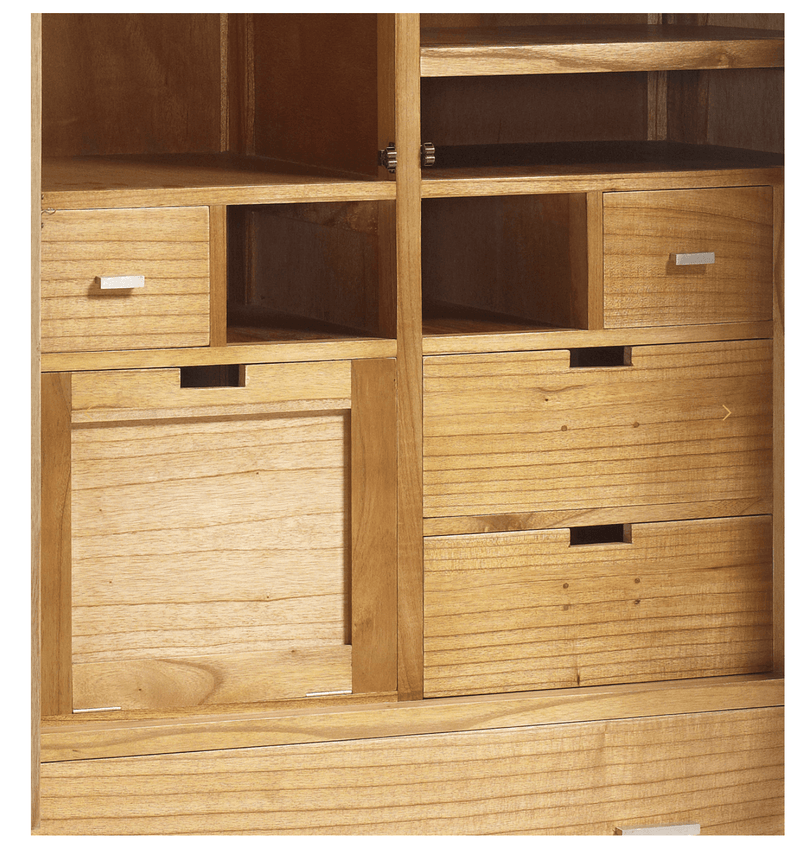 Natural 5 Drawers 2 Doors Wardrobe + Shoe Rack