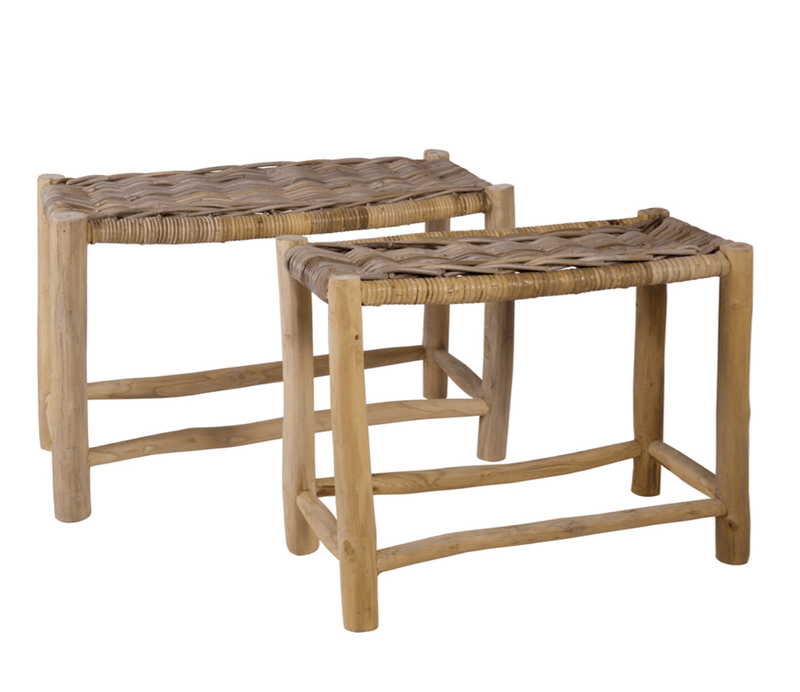 Rattan Benches-Set of 2