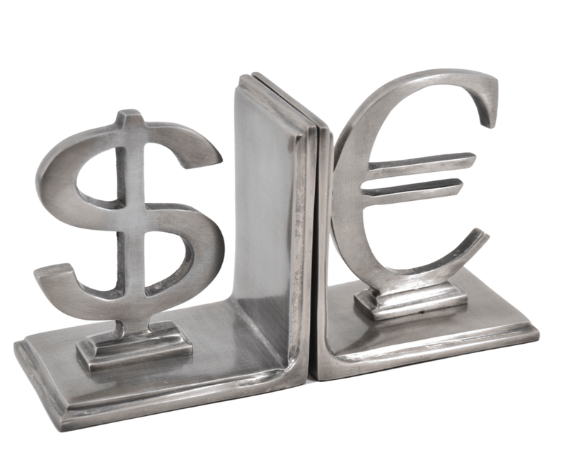 Dollar - Euro Bookend, Aluminium