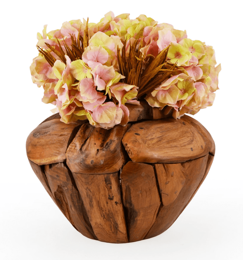 Erosi - Handmade Low Vase, Teak Wood
