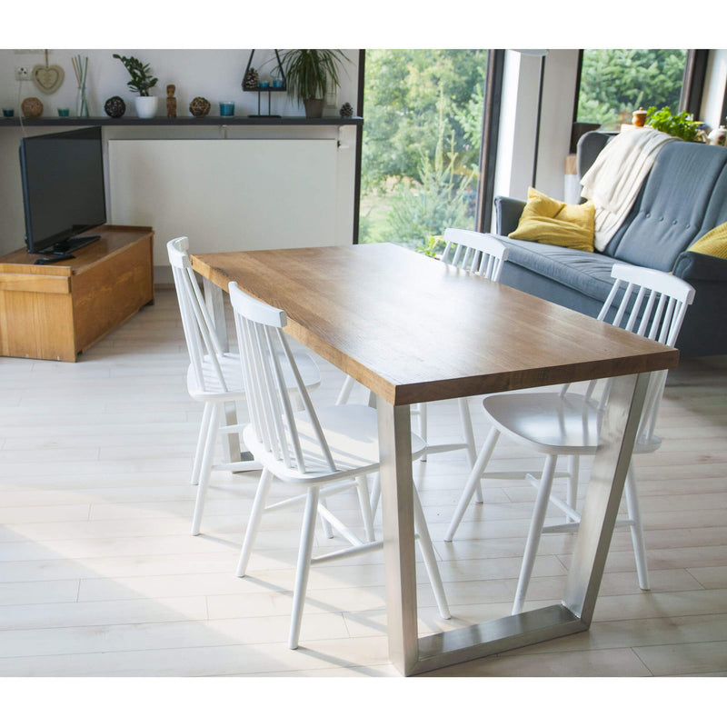Oak Wood & Metal Dining Table