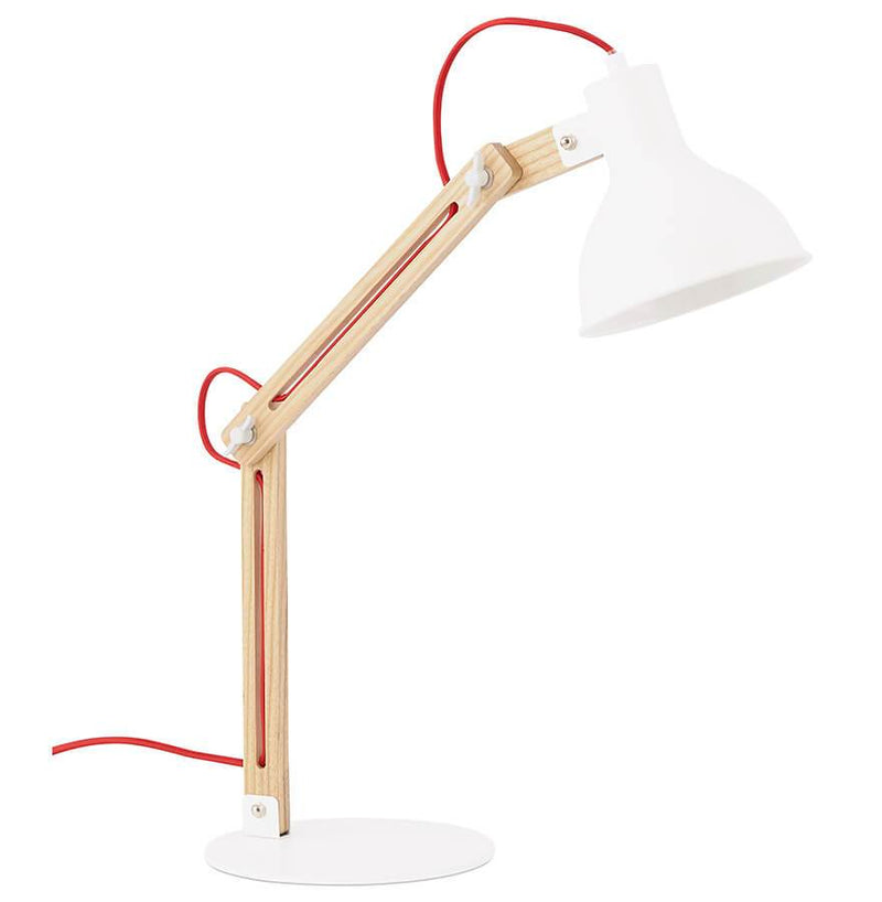Bot - Fully Adjustable Desk Lamp With Wooden Base and Metal Shade 75 CM - HM_FURNITURE