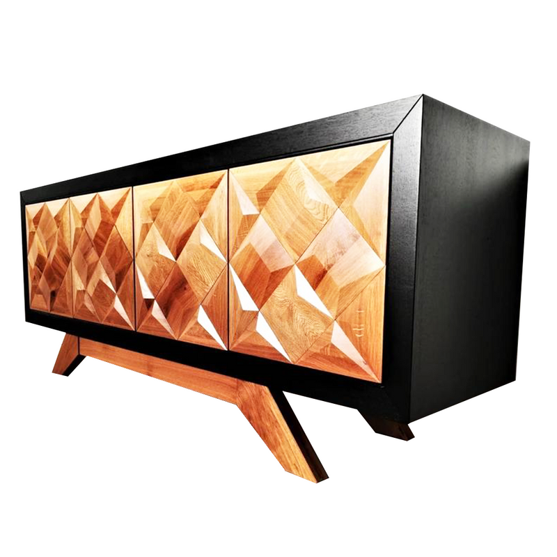 Oak Wood Media Unit, Cube Carved