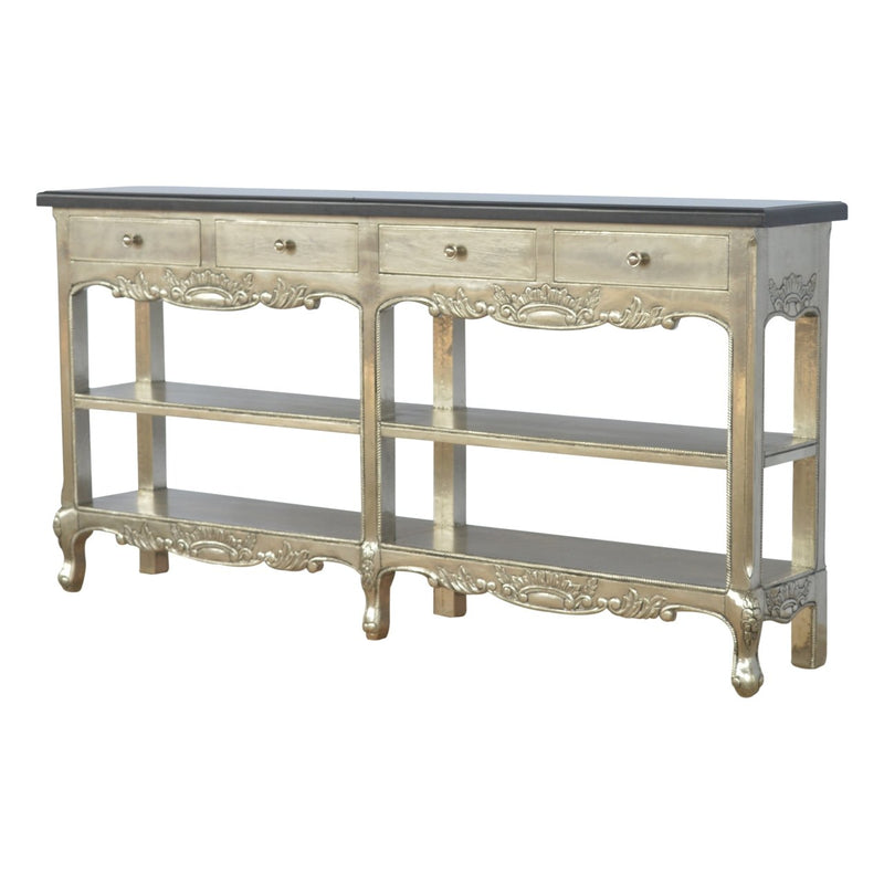 Handcrafted Silver Console Table With Marble Top - HM_FURNITURE