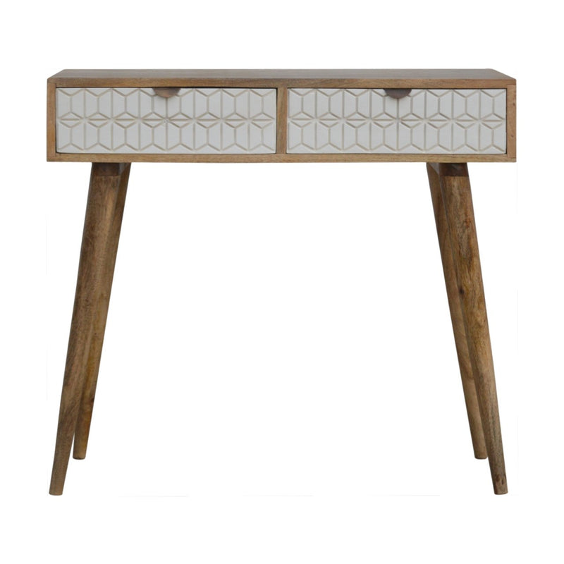 Handcrafted Console Table With 2 Hand-Carved Drawers - HM_FURNITURE