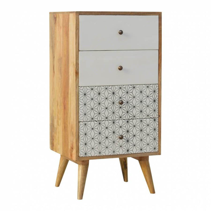 Handcrafted Tallboy With Hand Painted Drawers - HM_FURNITURE