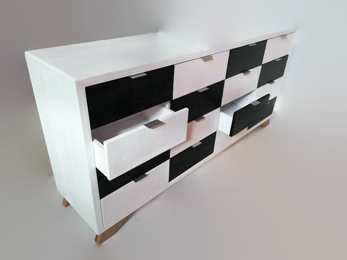 Handcrafted Unique Design Solid Wood 16 Drawers Chest in Black and White Finish