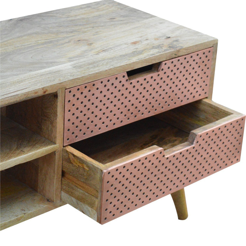 Handcrafted Media Unit With Copper Drawers - HM_FURNITURE
