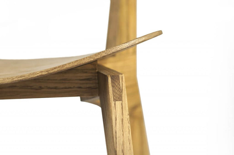 Oak Wood Triangular Shaped Dining Chair