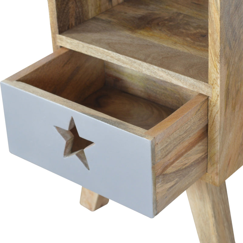 Handcrafted Bedside Table With 1 Painted Drawer and 1 Open Slot