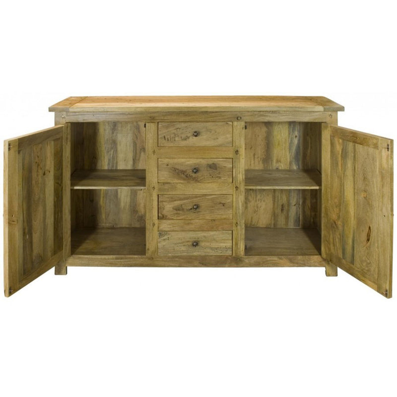 Solid Wood 4 Drawer 2 Door Sideboard