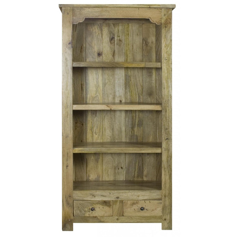 Oak Finish 2 Drawer Bookshelf