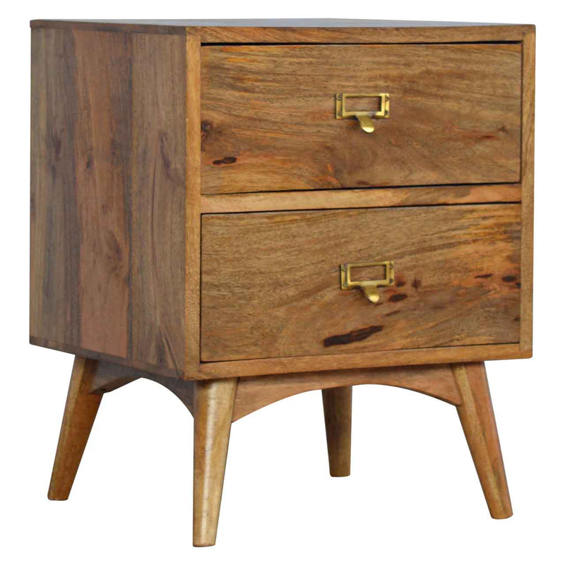 Brass Handles 2 Drawer Bedside