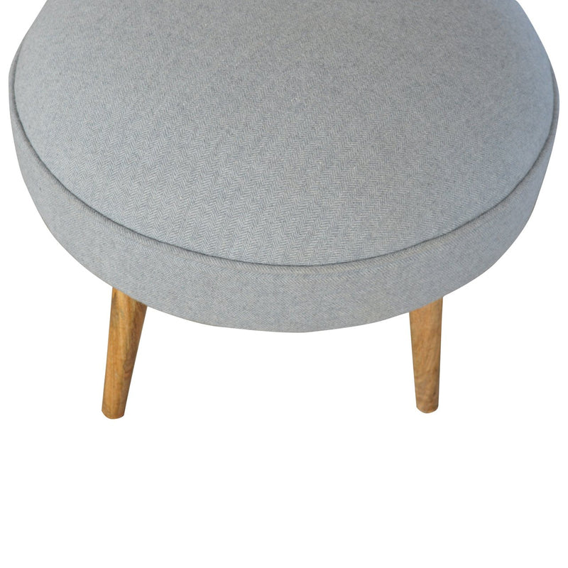 Handcrafted Grey Tweed Foot Stool - HM_FURNITURE