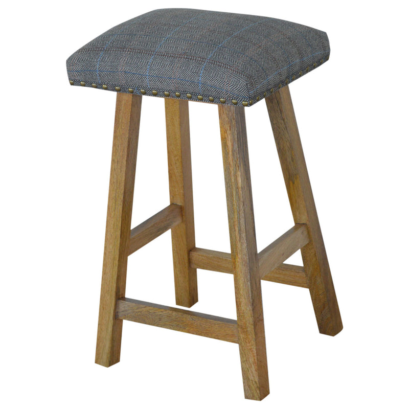 Mango Wood Multi Tweed Bar Stool