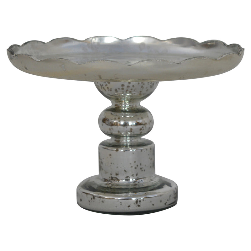 Handcrafted Vintage Glass & Antique Mercury Finish Cake Stand