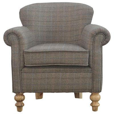 Handcrafted Multi Tweed Armchair With Turned Legs - HM_FURNITURE