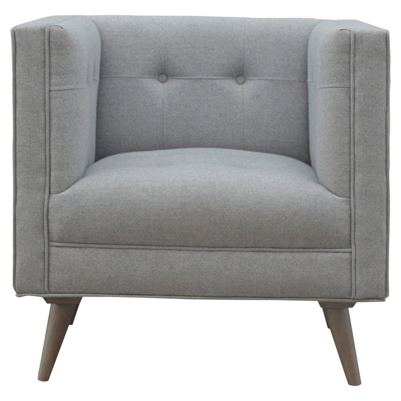 Handcrafted Grey Tweed Armchair - HM_FURNITURE