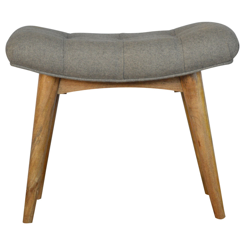 Agot - Curved Bench, Grey Tweed