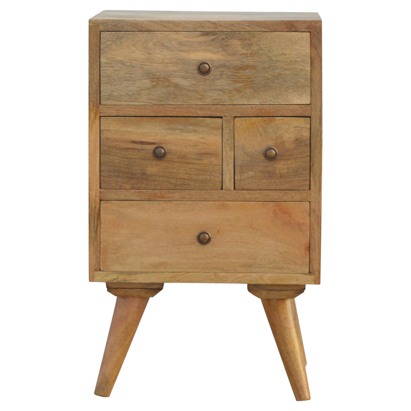Handcrafted Solid Wood Bedside with 4 Drawers