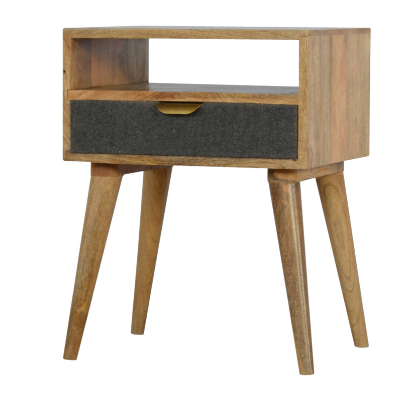 Lena - 1 Drawer Bedside, Grey Tweed