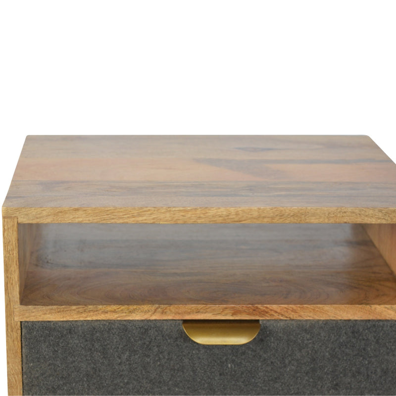 Grey Tweed 1 Drawer Bedside