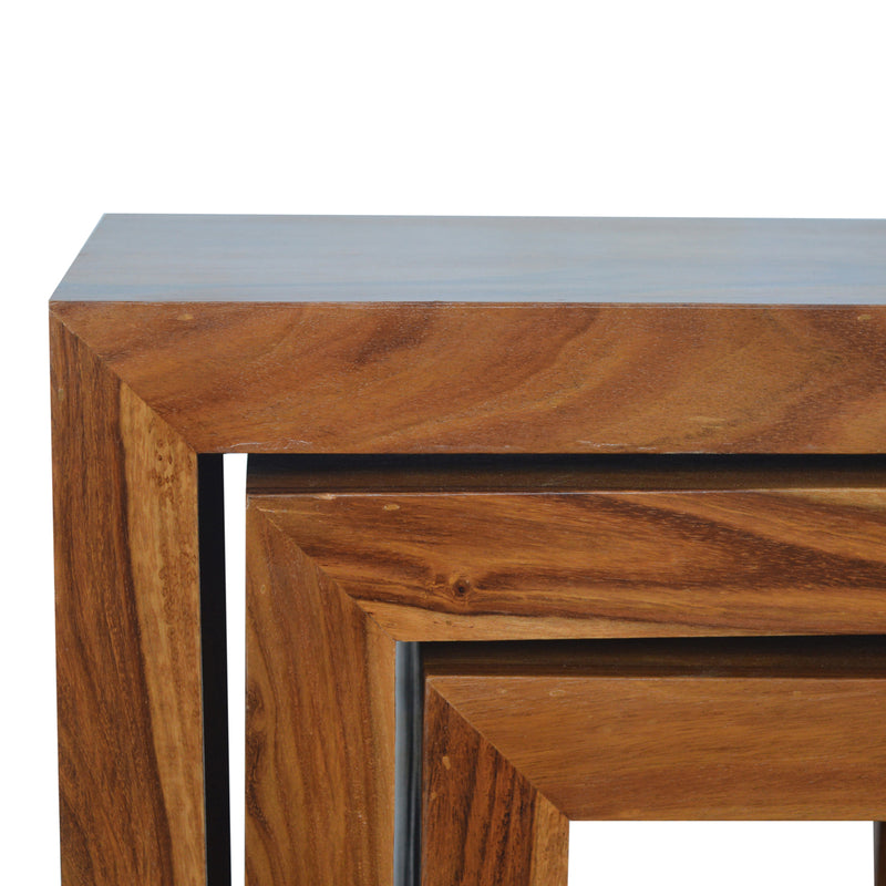 Indian Rose Wood (Sheesham) Cubed Nest Of Tables