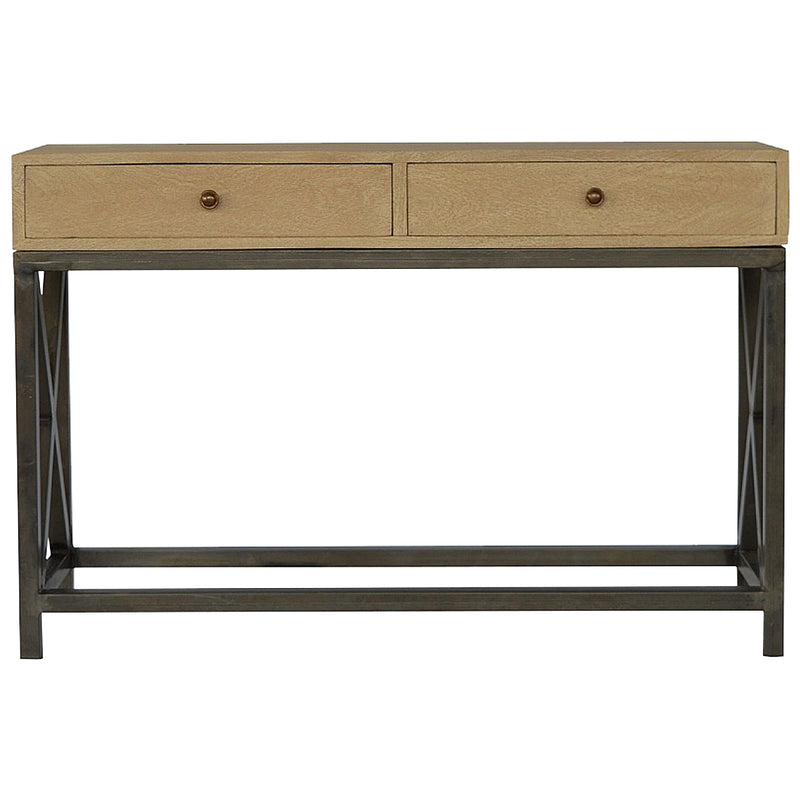Metal Base 2 Drawer Sandblasted Console Table