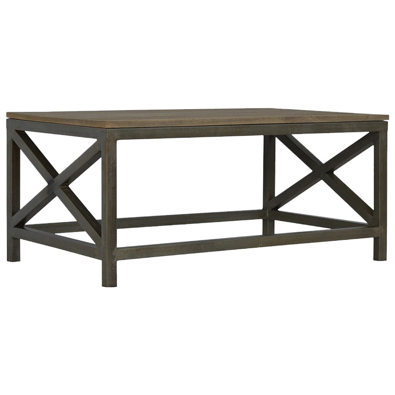 Handcrafted Sandblast Coffee Table With Wooden Top and Iron Base
