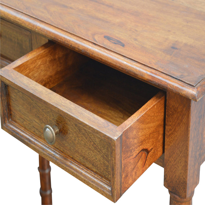 Handcrafted Console Table With 4 Drawers and Turned Legs