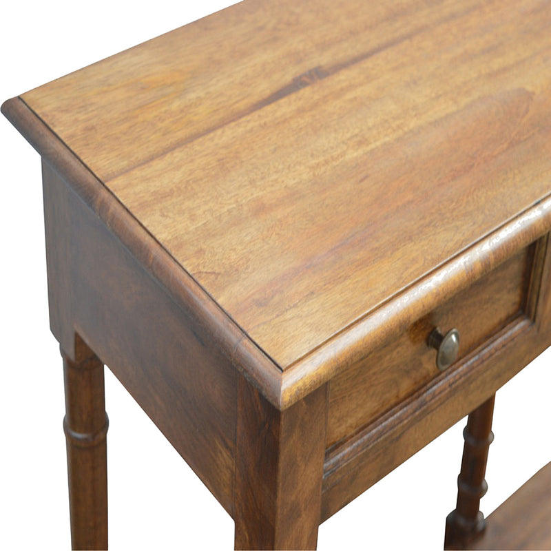Chestnut Turned Legs 4 Drawers Console Table