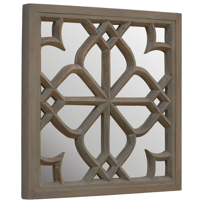 Handcrafted Solid Wood Floral Pattern Mirror