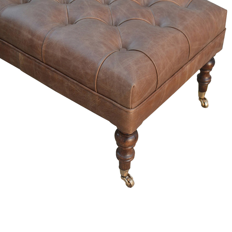 Turned Legs Buffalo Leather Ottoman