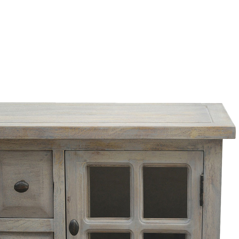 Handcrafted Stone Finish Console Table with 4 Drawers and 2 Doors