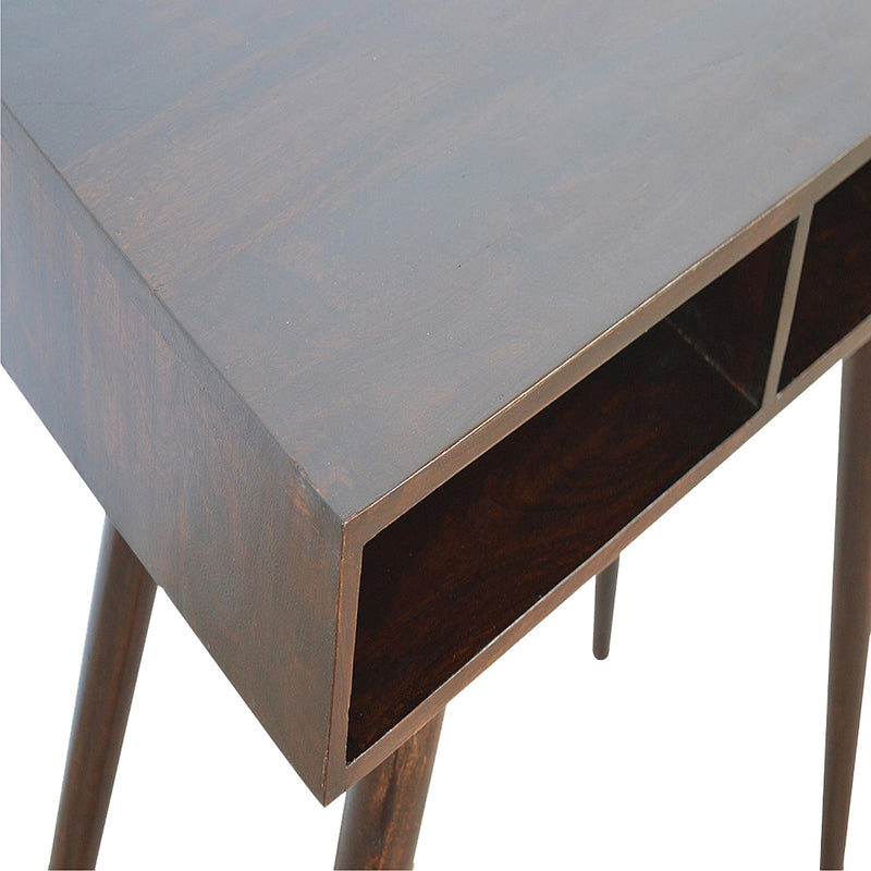Cille - 2 Shelves Desk, Walnut Finish