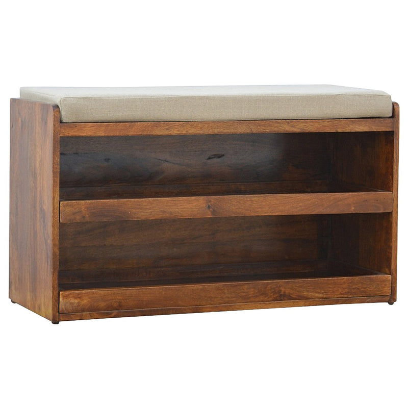 Handcrafted Shoe Storage Bench In Chestnut Finish - HM_FURNITURE