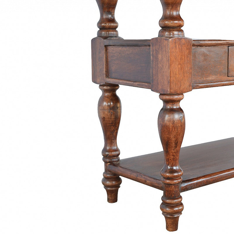 Handcrafted Cherry Finish Console Table With Hand Carved Base and 2 Drawers