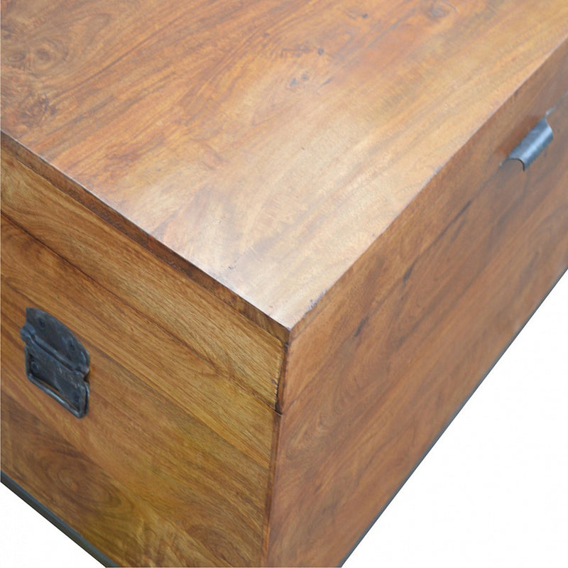 Handcrafted Solid Wood and Metal Base Storage Box