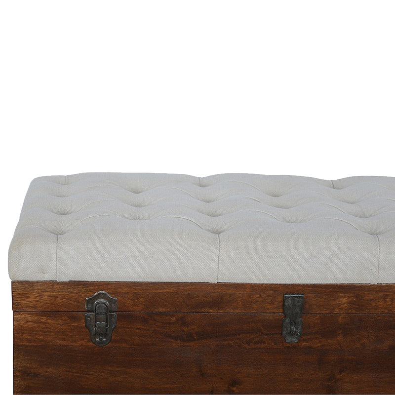 Handcrafted Solid Wood Storage Box with White Linen Padded Seat