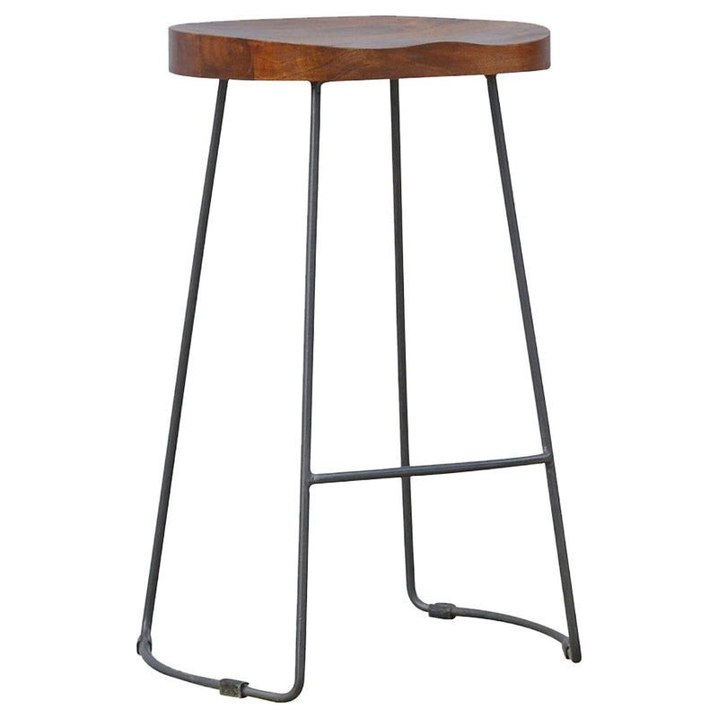 Handcrafted Bar Stool With Iron Base - HM_FURNITURE