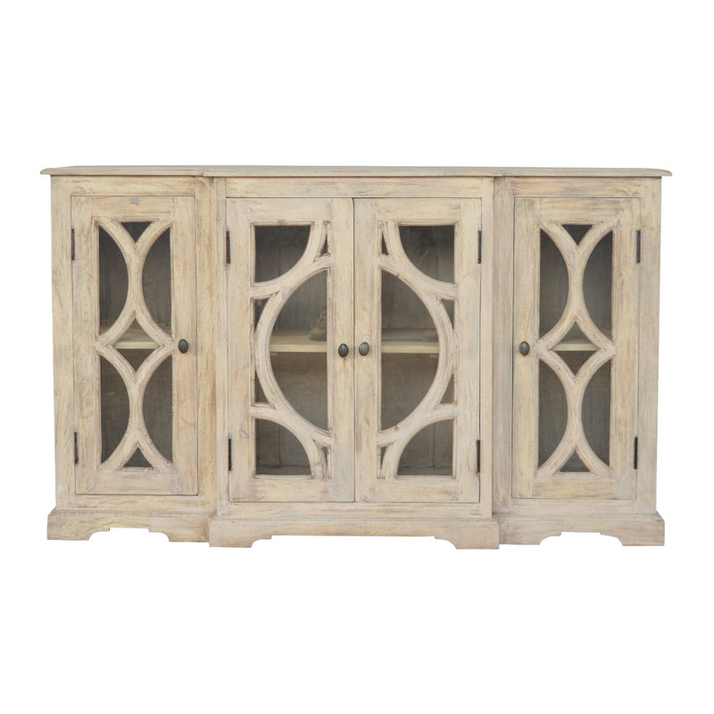 Handcrafted Stone Finish Media Unit with 4 Hand Carved Doors
