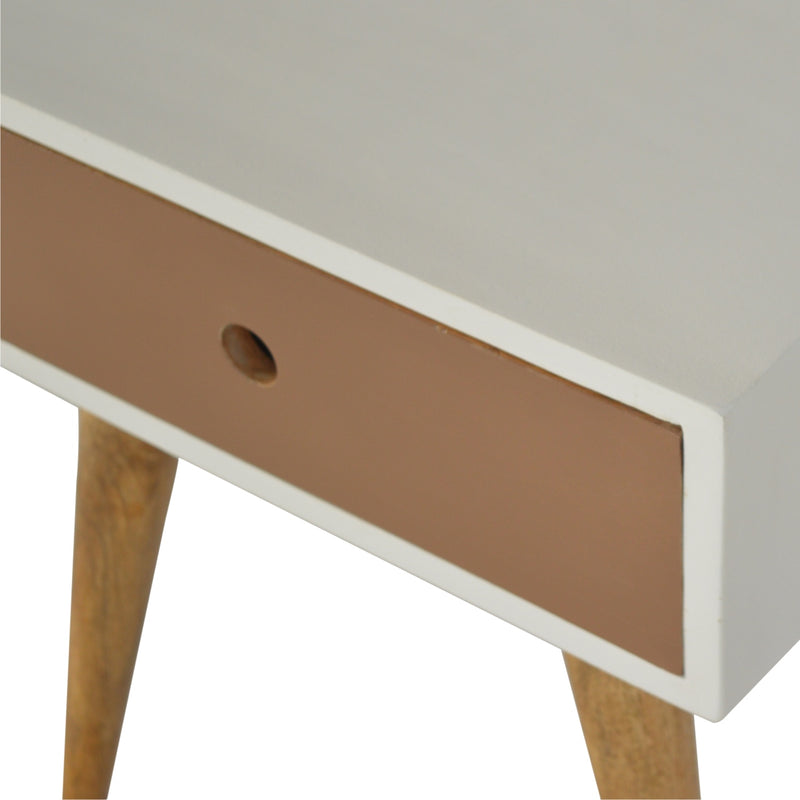 Handcrafted Solid Wood with 1 Mocha Painted Drawer Bedside