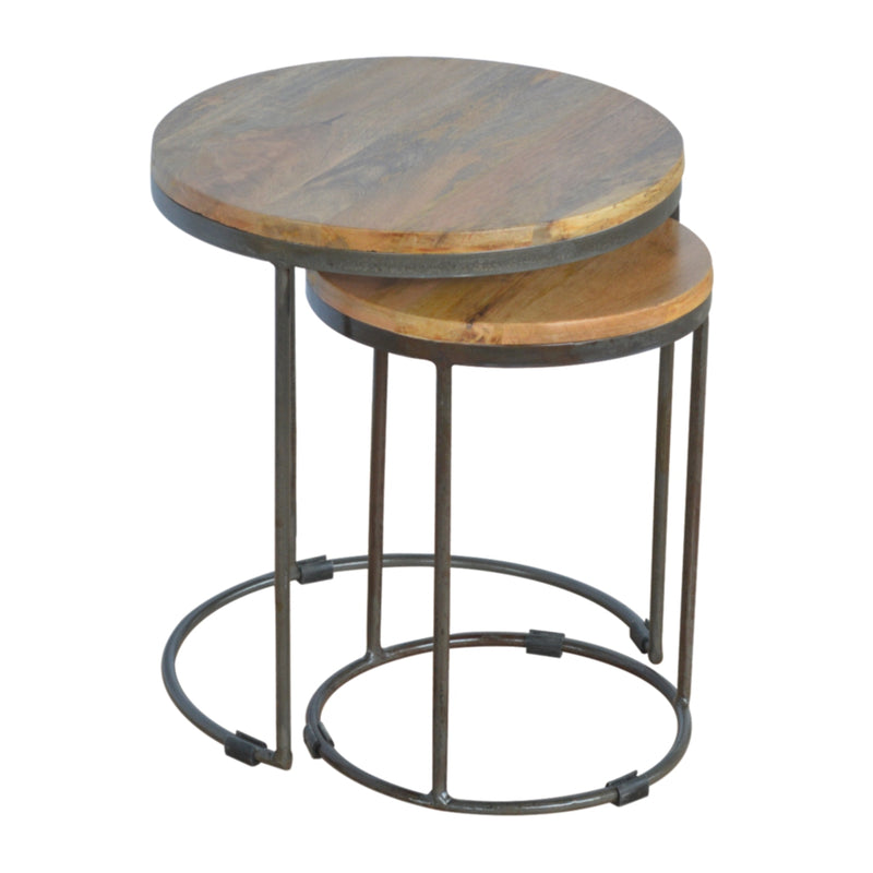 Handcrafted Wooden Top and Iron Bae Nested Stools