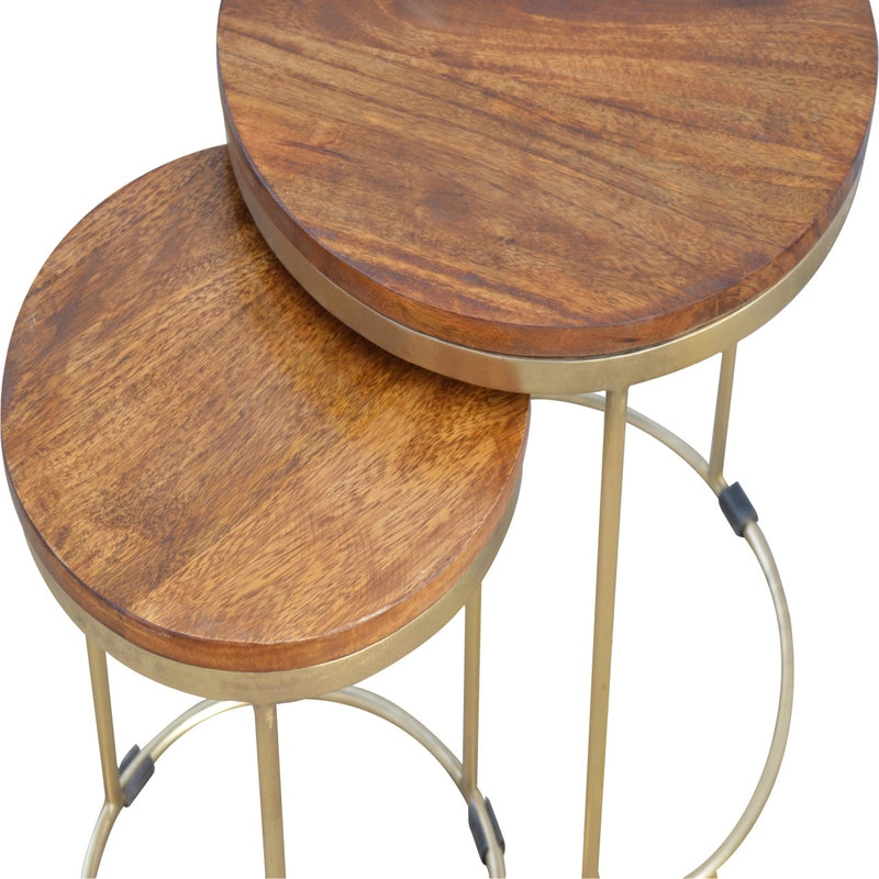 Industrial Round Nest of Tables, Chestnut