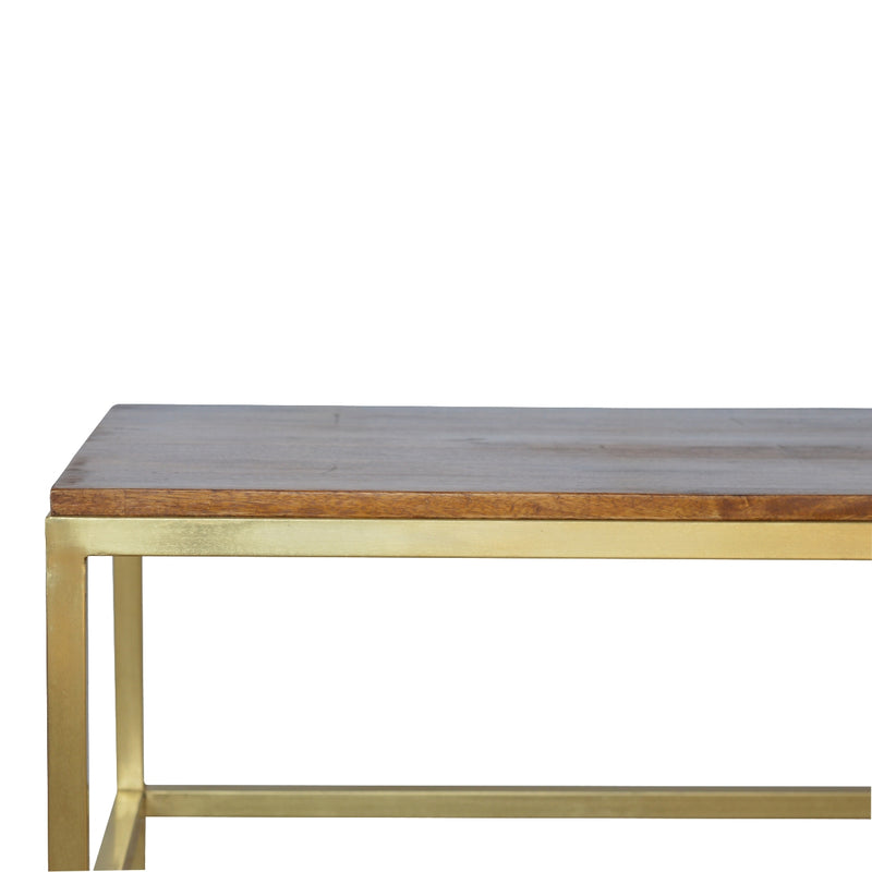 Handcrafted Coffee Table With Wooden Top and Golden Base
