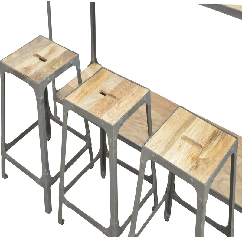 Handcrafted Solid Wood and Iron Table with 3 Stools